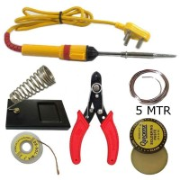 6 in 1 Soldering iron kit with | solder wire | Wire Stripper | Desolder wik | Stand | Flux | Soldering iron