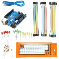 Basic Starter Kit Arduino UNO + 840 Pts Breadboard + 60 Jumper Wire + Red, Green yellow Led's + Resistor for Arduino