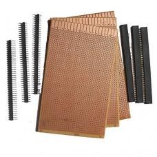 General Purpose Printed Circuit Board, 3 Pieces + Female Berg Strip, 3 Pieces + Male Berg Strip, 3 Pieces